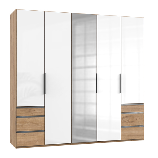 Kraza Mirrored 5 Doors Wardrobe In Gloss White And Planked Oak