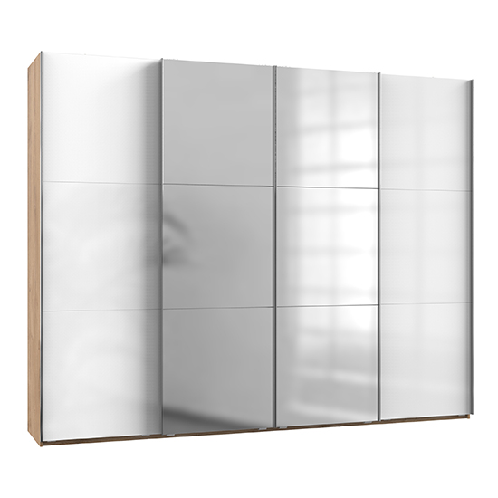 View Kraza mirrored sliding 4 door wardrobe in gloss white and oak