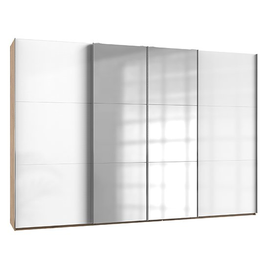 Product photograph showing Kraza Mirrored Sliding 4 Door Wide Wardrobe In Gloss White Oak