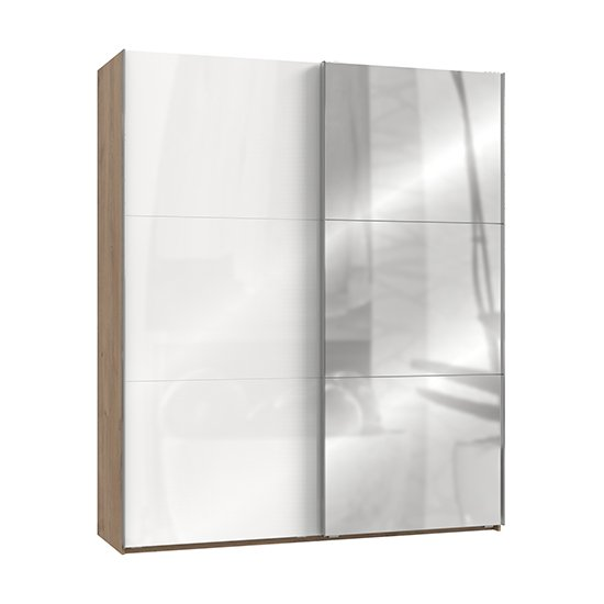 Kraza Mirrored Sliding Door Wardrobe In Gloss White Planked Oak