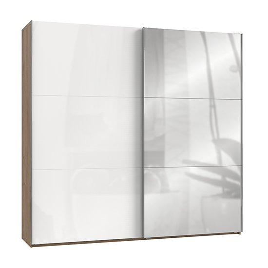 Kraza Mirrored Sliding Wide Wardrobe In Gloss White Planked Oak