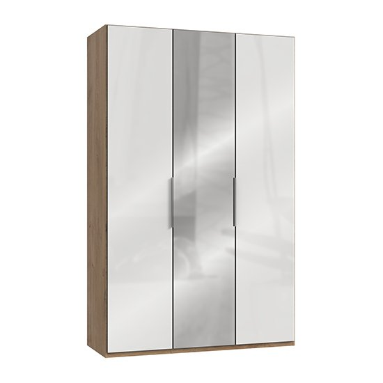 Kraza Mirrored Wardrobe In Gloss White Planked Oak With 3 Doors