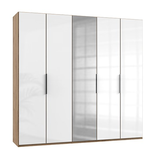 Kraza Mirrored Wardrobe In Gloss White Planked Oak With 5 Doors