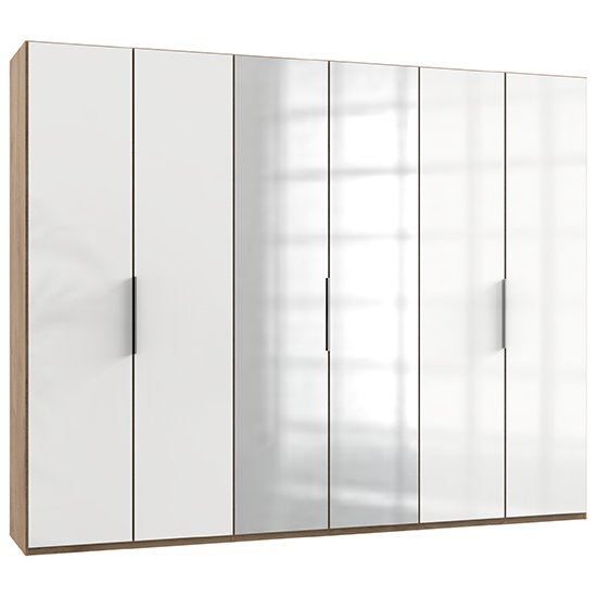 Kraza Mirrored Wardrobe In Gloss White Planked Oak With 6 Doors