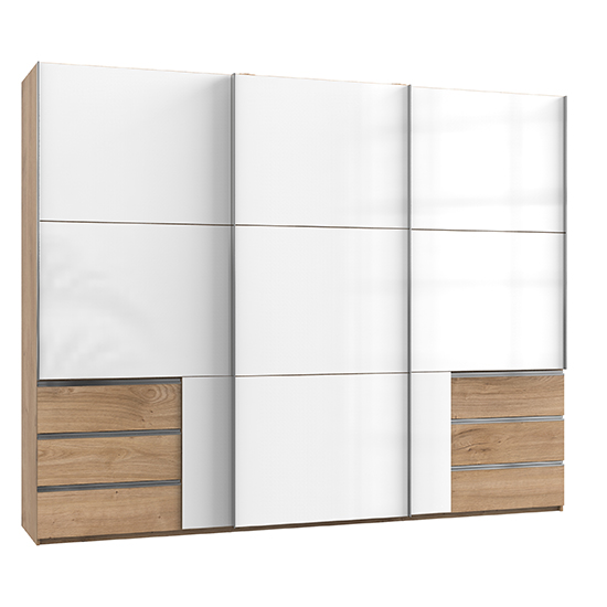 View Kraza sliding 3 doors wardrobe in gloss white planked oak