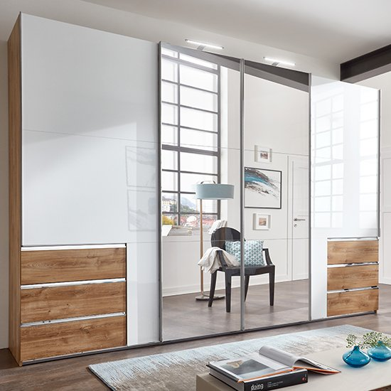 Kraza Sliding 4 Door Mirrored Wide Wardrobe In Gloss White Oak