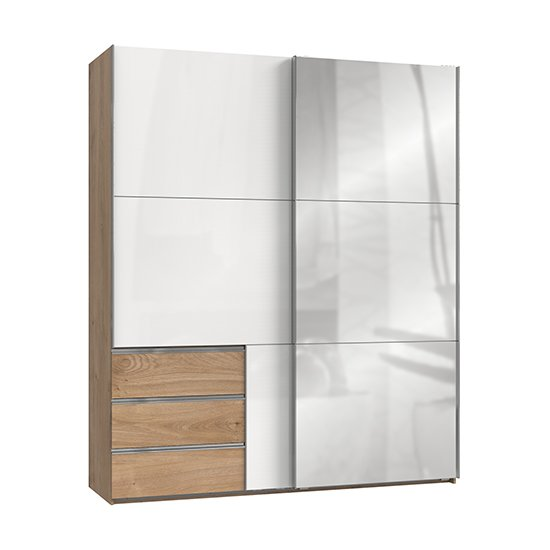 View Kraza sliding door mirrored wardrobe in gloss white planked oak