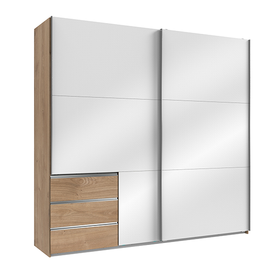 Kraza Sliding Door Wide Wardrobe In Gloss White Planked Oak