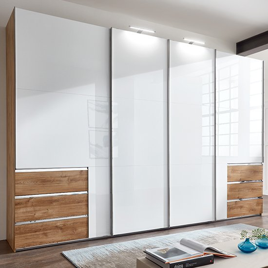 Kraza Wide Sliding 4 Doors Wardrobe In Gloss White Planked Oak