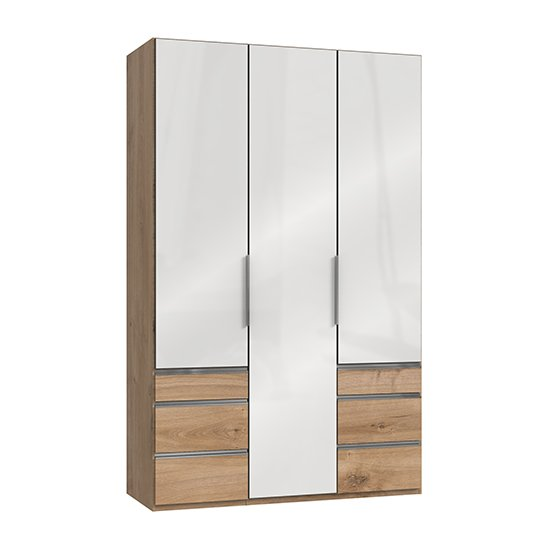 Kraza Wooden 3 Doors Wardrobe In Gloss White And Planked Oak