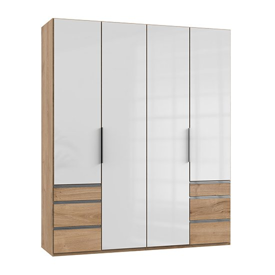 Kraza Wooden 4 Doors Wardrobe In Gloss White And Planked Oak