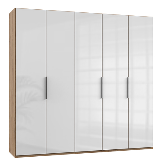 Kraza Wardrobe In Gloss White And Planked Oak With 5 Door