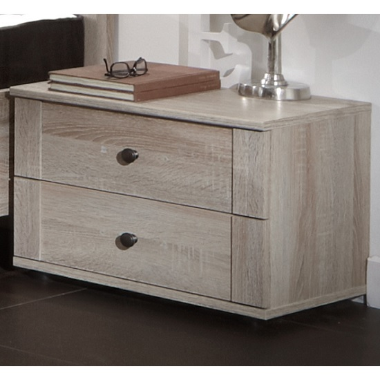 Krefeld Wooden Bedside Cabinet In Oak Effect With 2 Drawers