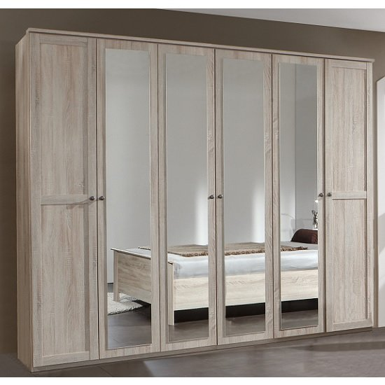 Krefeld Mirrored Wardrobe Extra Large In Oak Effect With 6 Doors