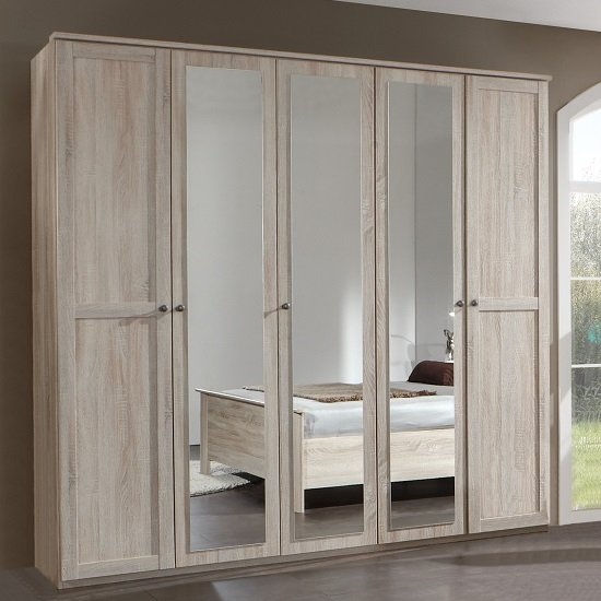 Product photograph showing Krefeld Mirrored Wardrobe Large In Oak Effect With 5 Doors