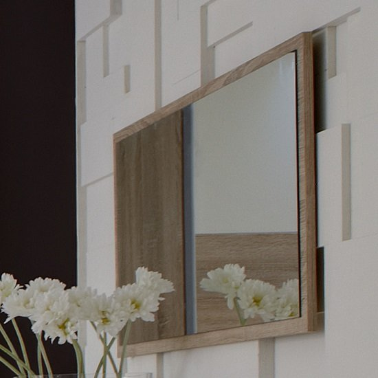 Krefeld Wooden Wall Mirror Rectangular In Oak Effect