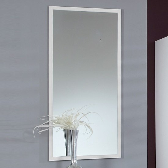 Krefeld Wooden Wall Mirror Rectangular In White