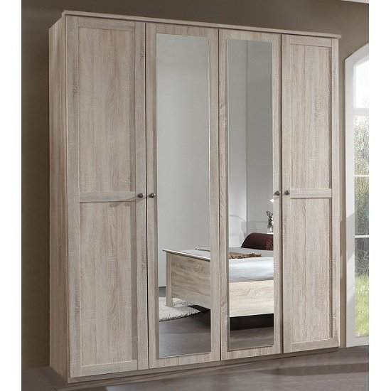 Krefeld Mirrored Wardrobe In Oak Effect With 4 Doors