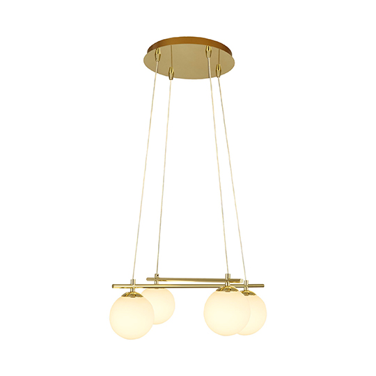 Kris Cross Opal Ball 4 Lights Pendant Ceiling Light In Gold