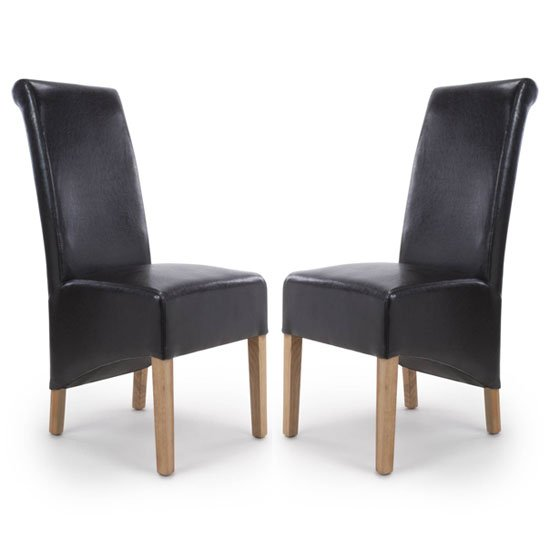 Krista Black Bonded Leather Dining Chair In A Pair_1