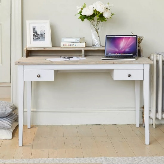 Krista Wooden Computer Desk In Grey With 2 Drawers_2