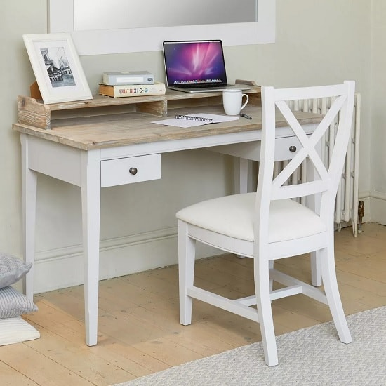 Krista Wooden Computer Desk In Grey With 2 Drawers_5