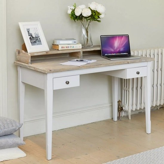 Krista Wooden Computer Desk In Grey With 2 Drawers_1