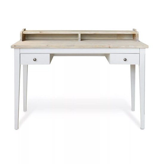 Krista Wooden Computer Desk In Grey With 2 Drawers_3