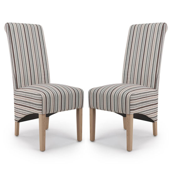 Product photograph showing Krista Duck Egg Chenille Stripe Dining Chair In A Pair