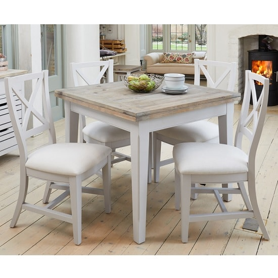 Krista Wooden Extendable Dining Table Square In Grey_5