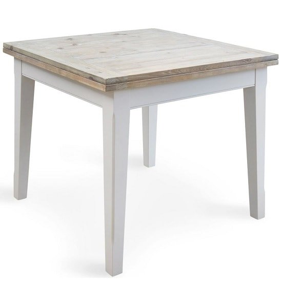 View Krista wooden extendable dining table square in grey