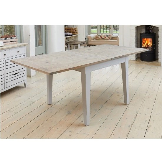 Krista Wooden Extendable Dining Table Square In Grey_4
