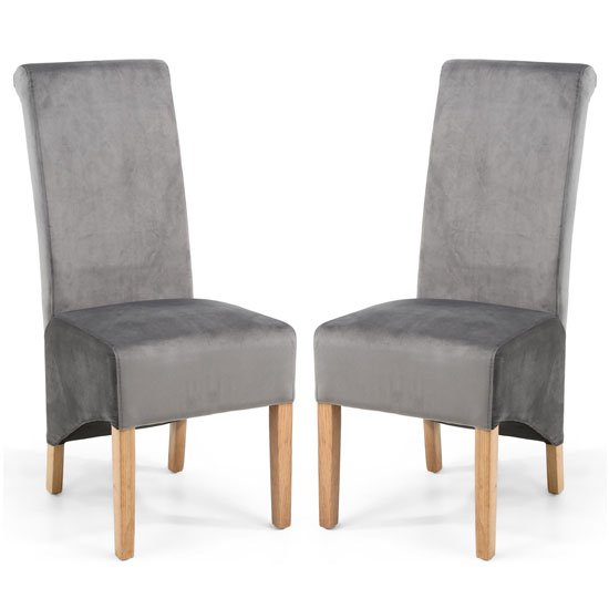 Krista Grey Brushed Velvet Dining Chair In A Pair