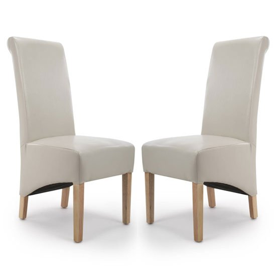Krista Ivory Bonded Leather Dining Chair In A Pair