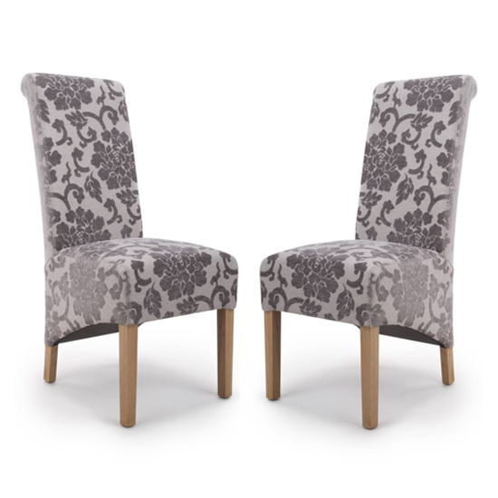 Krista Roll Back Baroque Velvet Mink Dining Chairs In Pair