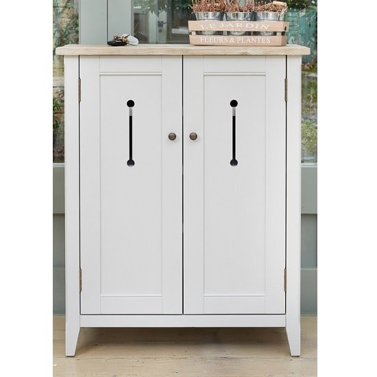 Krista Wooden Shoe Storage Cabinet In Grey With 2 Doors