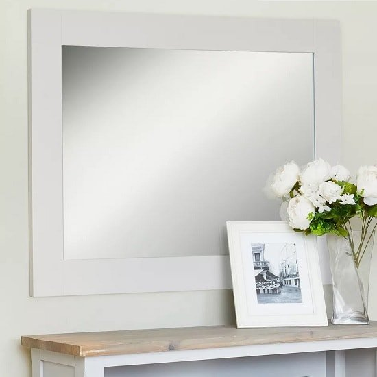 Krista Wooden Wall Mirror Rectangular In Grey