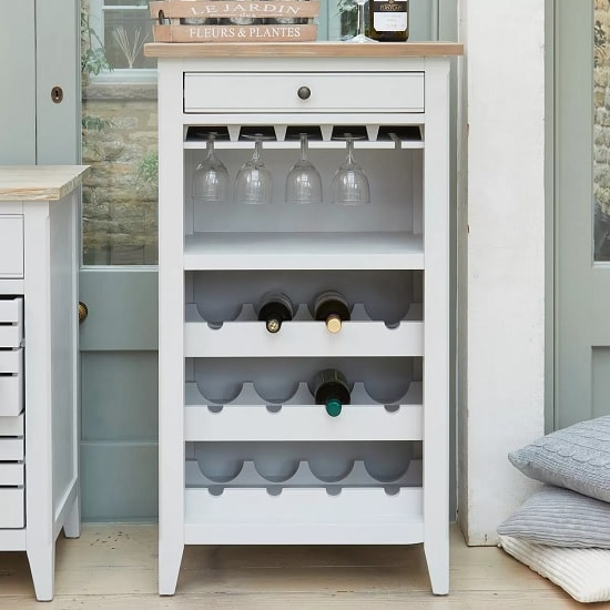 Krista Wooden Wine Rack In Grey With 1 Drawer_2