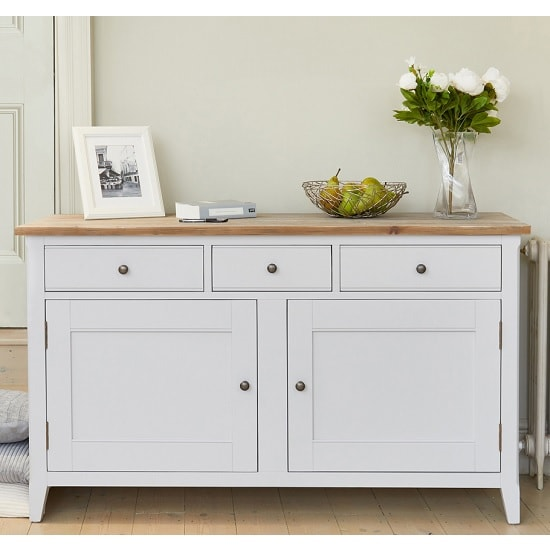 Krista Wooden Sideboard In Grey With 2 Doors And 3 Drawers