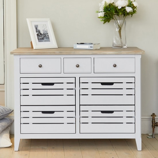 Krista Wooden Compact Sideboard In Grey With 7 Drawers