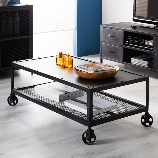 Kristel Coffee Table Rectangular In Dark Iron With Wheels