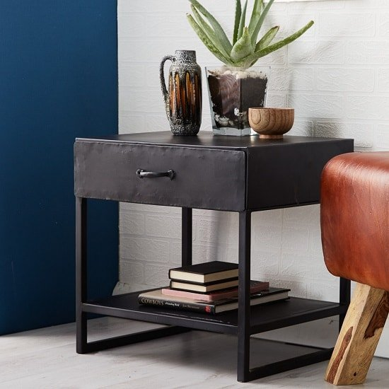 Kristel Contemporary Lamp Table In Dark Iron With 1 Drawer