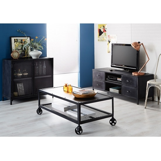 Kristel Modern TV Stand In Dark Iron With 4 Drawers_3