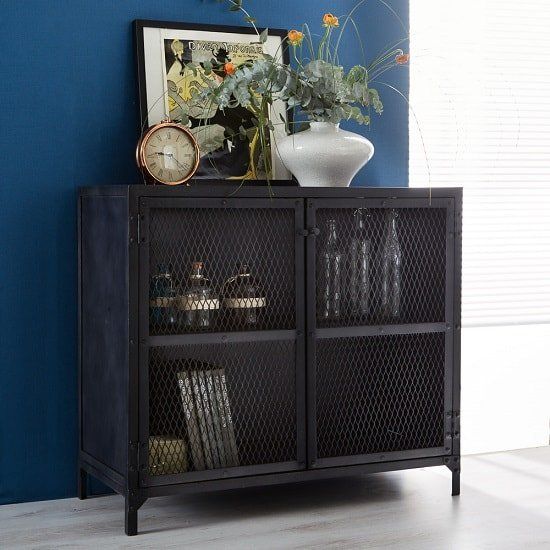 Kristel Compact Sideboard In Dark Iron With 2 Doors