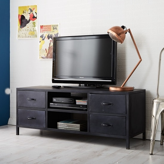 Kristel Modern TV Stand In Dark Iron With 4 Drawers