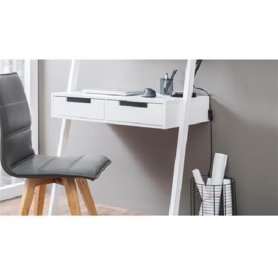 Kristina Retro Ladder Style Computer Desk In White With