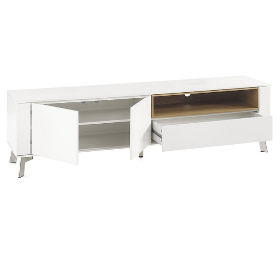 Kristy TV Stand In Matt White With Brushed Steel Legs_2