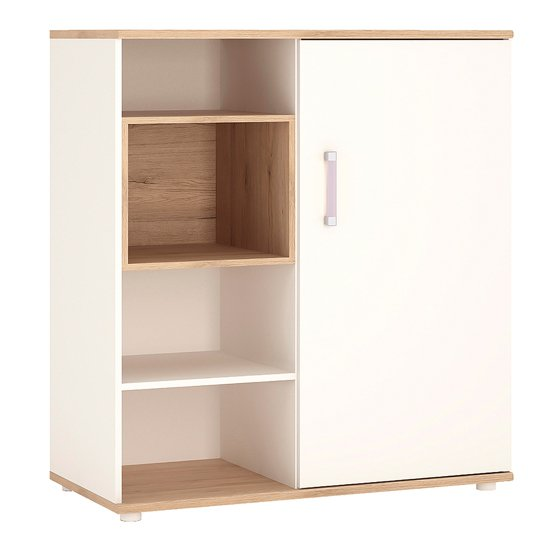 Kroft Wooden Low Storage Cabinet In White High Gloss And Oak