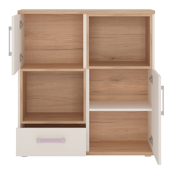 Kroft Wooden Open Storage Cabinet In White High Gloss And Oak_2