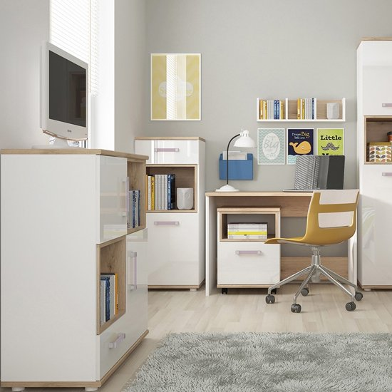 Kroft Wooden Open Storage Cabinet In White High Gloss And Oak_4